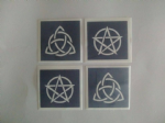 10 - 100 Triquetra & Pentacle stencils for glitter tattoos / airbrush / face painting / cakes  Halloween spooky Pagan symbols